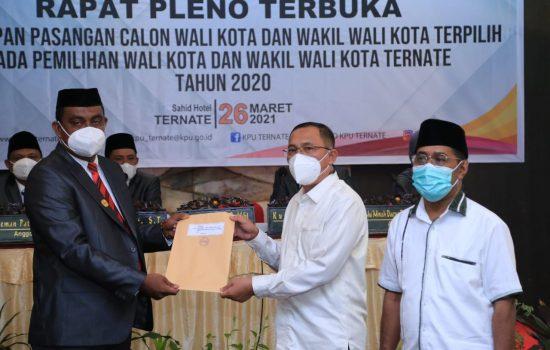 KPU Tetapkan Tauhid-Jasri Wali Kota dan Wawali Ternate Periode 2021-2024